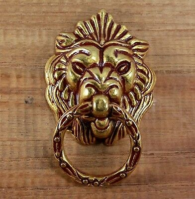 Cupboard  Lot Set Of 6 Cast Iron Gold  Lion 5 Cm. Cabinet Cup Pull Handle Door