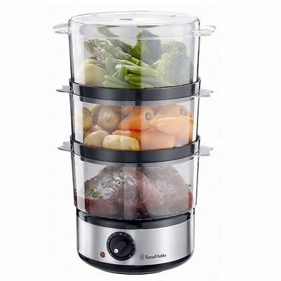 Russell Hobbs 14453 Stainless Steel 3 Tier Compact Food Collection Steamer New