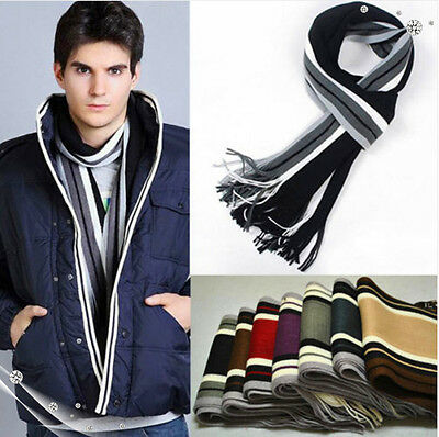 Mens Classic Cashmere Shawl Winter Warm Long Fringe Striped Tassel Wrap Scarf