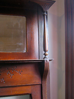 AUTHENTIC Victorian Oak 2 Tier Mantel with Beveled Mirror~ Aged Beauty!!!