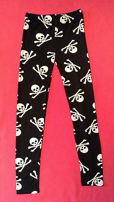 New Girls Age 13-15 Halloween Black Skull & Bones Stretch Elasticated Legging