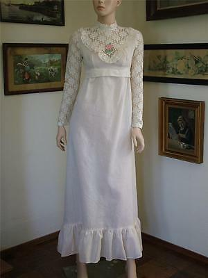 vtg 70s Festival Dead Stock Maxi Length Lace Sleeve Boho Prairie Dress XS/S