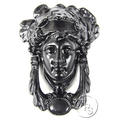 Traditional Antique Victorian Style Grecian Goddess Cast Iron Door Knocker Black