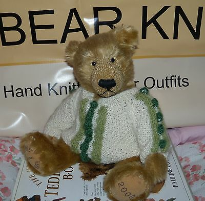 "** BEAR KNITS **Hand Knitted teddy bear clothes bobble jumper fit 13"" teddy bear"