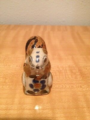 Vintage Tonala Mexican Ceramic Squirrel Hand Painted Hand Made