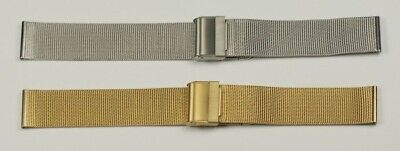 Easy Adjust Sliding Buckle Fine Mesh Watch Strap Metal Gold Plated Steel Band