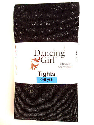 New Childs Childrens Girls Glitter Sparkly Party Black Tights Age 6 / 7 / 8 Year