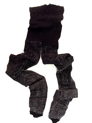 New Childs Childrens Girls Glitter Sparkly Party Black Tights Age 8 9 10 11
