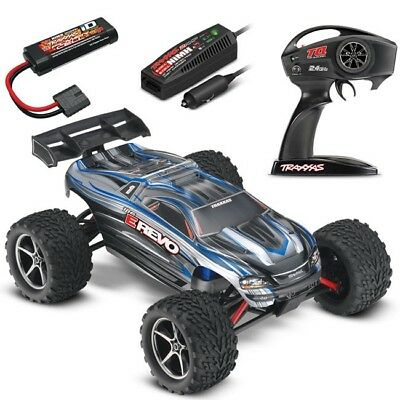Traxxas 1/16 E-Revo Brushed 4WD RTR RC Monster Truck, ID Battery & Quick Charger