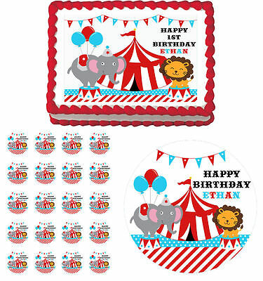 Circus Carnival Edible Birthday Cake Cupcake Topper Party Decoration
