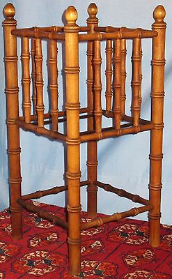 Vintage Original Wood Umbrella Walking Stick Cane Stand Bamboo Style