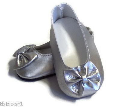 "Silver Bow Shoes made for 18"" American Girl Doll Clothes"