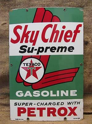Vintage 1959 Porcelain Texaco Sky Chief Gas Station Sign   Antique Old Oil 9131