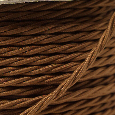 Braided Cloth Twisted Wire Flex 3Core 6Amp Double Insulated in Bronze