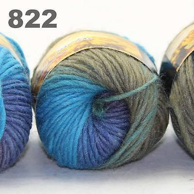 LOT of 3x50gr Skeins NEW Chunky Hand-woven Colors Knitting Scores wool yarn 822