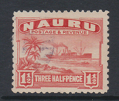 NAURU 1924-48 1½d SCARLET (ROUGH SURFACED) SG 28A FINE USED.