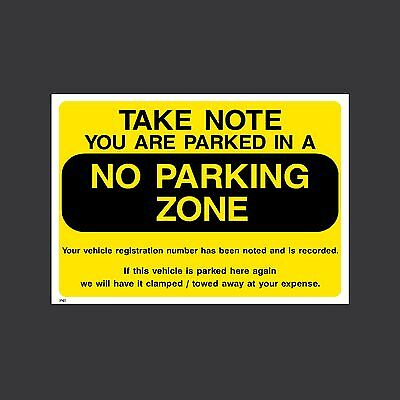 No Parking Zone - Plastic Sign, Sticker - All Sizes & Materials - P41