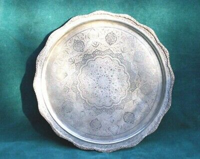 Antique 84 Silver Sterling 12'' Round Tray  Magnificent