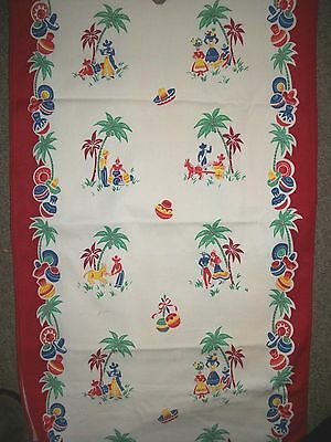Vtg 40s 50s Cotton Towel RUNNER  Fabric MEXICAN South of the Border  2 1/2 yds