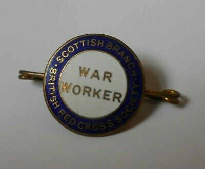 scottish branch british red cross society war worker enamel badge