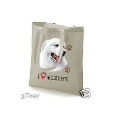 I Love My Great Pyrenees Mountain Dog Printed Tote Bag