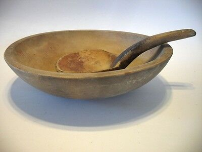 Vintage Antique WOODEN Farm House BOWL Lathe Turned with Carved Hand Made SPOON