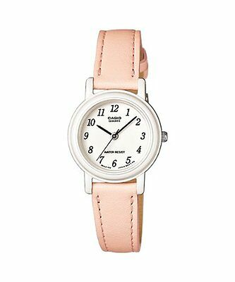 Casio Women's Light Pink Leather Analog Easy to Read White Dial WatchLQ139L-4B2