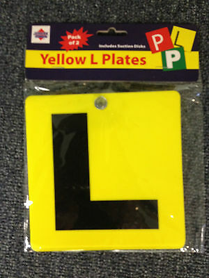 New L Plates Plastic with Suction cups Yellow BNIB set of 2