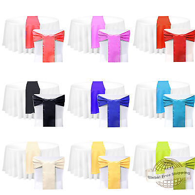 "New 12""x108"" Satin Table Runner 6""x108"" Chair Sash Wedding Banquet Party Decor"