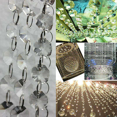 6ft Clear Crystal Chandelier Prism Lamp Octagon Bead Chain Wedding Pendant