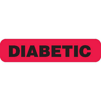 """DIABETIC"" Red Medical Label Black text 1.625"" x 0.375"" 1000 pk"