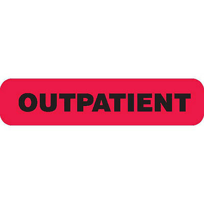 """OUTPATIENT"" Red Medical Label Black text 1.625"" x 0.375"" 1000 pk"