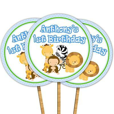 30 Personalized Cupcake Toppers Jungle Animals Baby Boy Shower Birthday 1st Blue