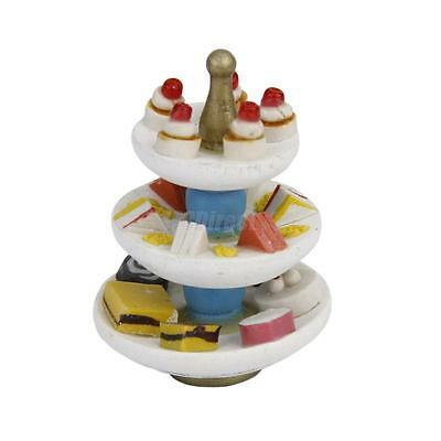 12th Scale Dollhouse Miniature 3-Tier Cake Stand w/ Pastries Sandwich Snack Food
