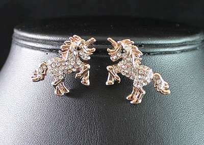 Unicorn Horse Fairy Clear Austrian Rhinestone Crystal Earrings Stud  E1788-Gold