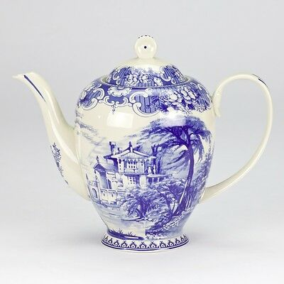 Vintage antique Blue white ornate Teapot high tea edwardian floral porcelain