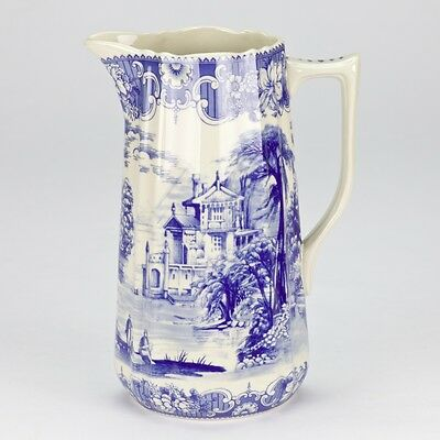 Antique style Blue ornate Pitcher Jug Ornate Edwardian white porcelain 20.5cm/8""