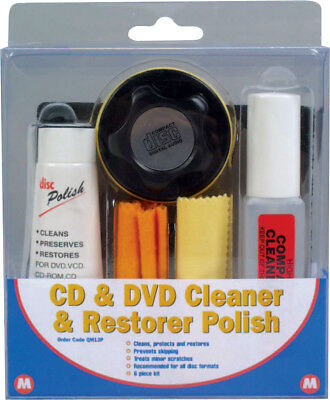 Manual CD and DVD Cleaner and Restorer Polish Kit 6 Piece Set