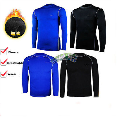 Mens Winter Warm Fleece-Lined Sports Base Layers Under Thermal Shirt Skin Tops