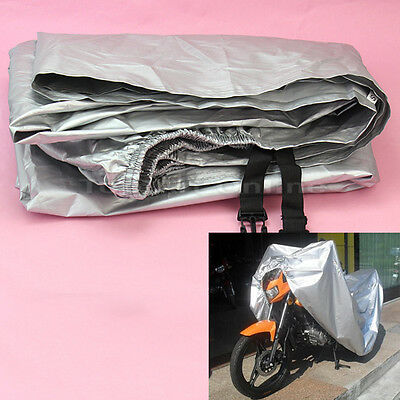 Waterproof Sun Snow Rain Cover Silver For Motorcycle Motorbike Scooter Protector