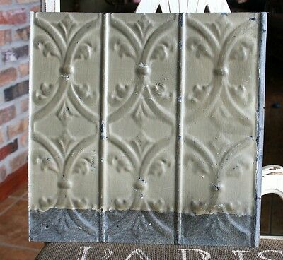 "12"" Antique Tin Ceiling Tile -- Clay Colored Paint with Scrolling Design - A2"