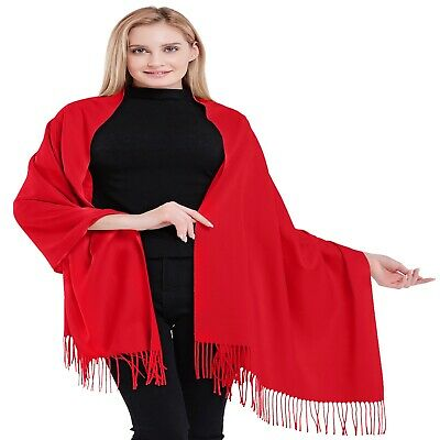 Red High Grade 100% Cashmere 2 Ply Shawl Scarf Shawls Hand Made from Nepal *NEW*