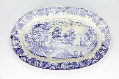 Antique vintage style Blue White ornate Serving Plate Dish porcelain 32cm/12.5""