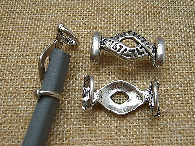 10/30 Antique Silver Infinity Slider Spacer For Licorice Leather Cord  12*6mm