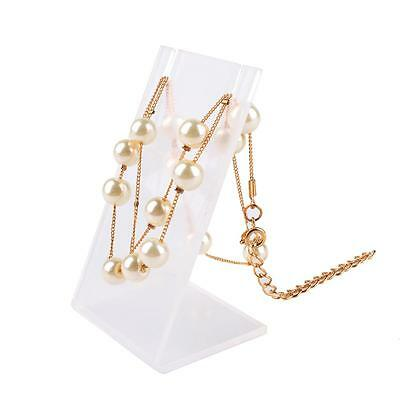 Necklace Bust Jewelry Pendant Chain Display Holder Stand Neck Clear Easel Tool