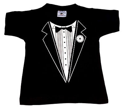 Funny Kid Tshirt Tuxedo T Shirt Children Boy Girl Size 0-14Wedding School Events