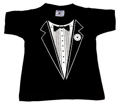 Kid Tshirt Children Boy Girl Tuxedo T Shirt  Size 0-14 Wedding School Events