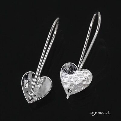 Sterling Silver Hammered Heart French Hook Earring Connector Ear Wire #97551