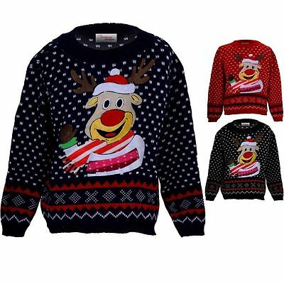 Childrens Festive Rudolph Reindeer Snow Girls Boys XMAS Christmas Knitted Jumper