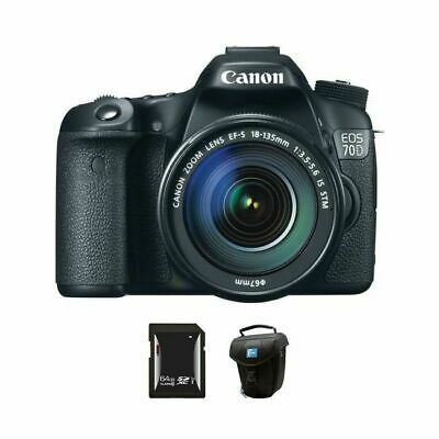 Canon EOS 70D DSLR Camera w/18-135mm Lens + 64GB & Case